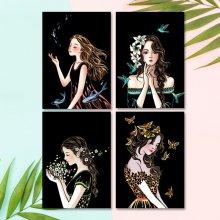 컬러 스크래치 카드 컬러링북 DIY(A4)-소녀(4종)