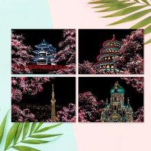 컬러 스크래치 카드 컬러링북 DIY(A4)-벚꽃엔딩(4종)