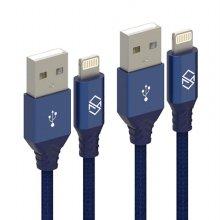 1+3 더치패브릭 아이폰 8핀 고속충전 케이블 2M - 블루(4개)