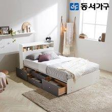 루젠화이트 수납헤드 깊은서랍 슈퍼싱글 침대(9존독립) DF638729