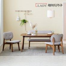 [비밀특가] 스칸딕 패밀리 원목 와이드 4인식탁세트(벤치1,의자2)