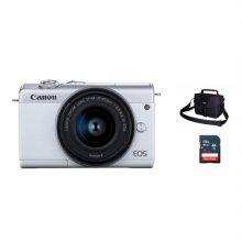 캐논 EOS-M200 미러리스 카메라 렌즈KIT[화이트][본체+15-45mm IS STM][사은품]