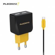 플레오맥스 USB 2포트 2.1A 고출력 충전기 5핀 케이블포함