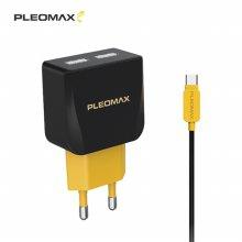 플레오맥스 USB 2포트 2.1A 고출력 충전기 C타입 케이블포함
