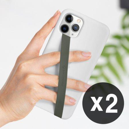 1+1 신지루프 실리콘 핸드폰 핑거스트랩 - 올리브그레이(2개)