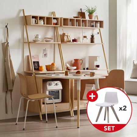[일룸] 레마 600/1000폭 식탁형 카페장(도어형/인출형) x 세라 플라스틱 의자 세트