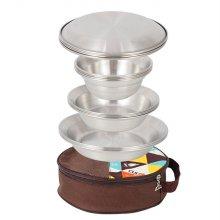 [해외직구] 캠핑용 16pcs 접시세트 그릇 스텐식기 코펠