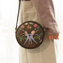 파스텔톤 캐릭터 가방 여행용 원형 크로스백 블랙