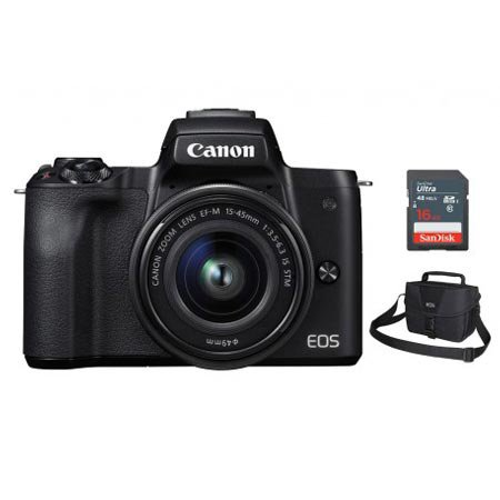 EOS-M50 미러리스 카메라 렌즈KIT[블랙][본체+15-45mm IS STM][사은품]