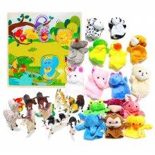 [캐스B] 손가락 동물인형 10종 +  동물손인형 6종 + 애니멀킹덤 농장동물 12pcs + 사운드퍼즐동물