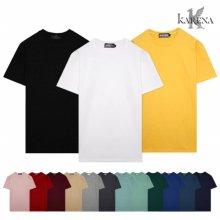 [KARENA] 20수 면 무지 라운드 반팔 티셔츠/남녀공용