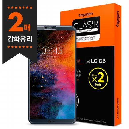 슈피겐 LG G6 강화유리 글라스tR슬림(2매)