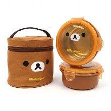 리락쿠마 가방2단 원형 이중스텐도시락(얼굴)(브라운)