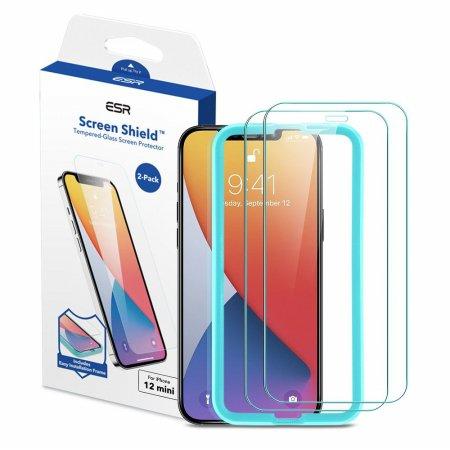 ESR 아이폰12 mini 가이드 풀커버 강화유리 2팩