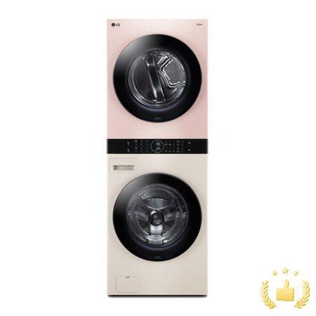 워시타워 오브제 컬렉션 세탁기(24kg)+건조기(16kg) 세트 W16EP (원바디 플랫 디자인, 원바디 런드리 컨트롤, 건조 준비기능, 드럼-베이지, 건조기-핑크)