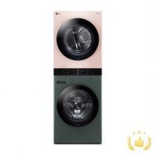워시타워 오브제 컬렉션 세탁기(24kg)+건조기(16kg) 세트 W16GP (원바디 플랫 디자인, 원바디 런드리 컨트롤, 건조 준비기능, 드럼-그린, 건조기-핑크)
