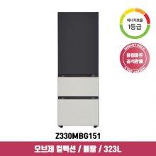 오브제 컬렉션 스탠드형 김치냉장고 Z330MBG151 (323L, 블랙+그레이, 1등급)