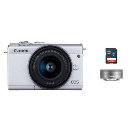 [16G메모리 증정][정품]캐논 EOS-M200 미러리스 카메라 더블렌즈키트[화이트][본체+15-45mm+22mm IS STM]