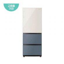 클라쎄 컬러글라스 김치냉장고 WRKQ37EPBB (328L / 솔리드 베이지+블루 그레이)/ 1등급)