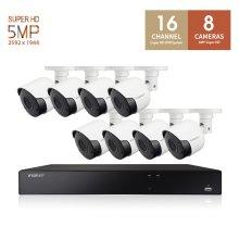 한화테크윈 500만화소 뷸렛 카메라 16채널 8카메라 CCTV세트