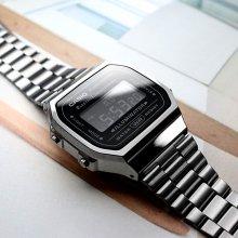 카시오 A168WGG-1B 레트로 남녀 전자 메탈 시계