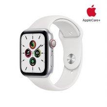 [Applecare+] 애플워치 SE GPS+Cellular 44mm 실버 알루미늄 케이스 화이트스포츠밴드