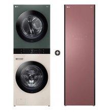 오브제컬렉션 워시타워 W16EG (세탁기24kg, 건조기16kg, 드럼-베이지,건조기-그린) + 스타일러 S5DFO 의류관리기 (5벌, 미스트 레드우드)